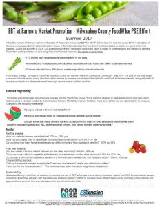 The EBT Farmers Market Promotion Report